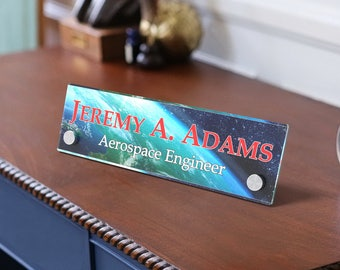Paper Insert Desk Sign, Own Personalisation, Acrylic Frames, Plates for Name Insert.
