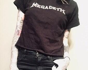 Reworked Worn MEGADETH Crop Top