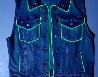 Custom Forever 21 Light Up jean vest
