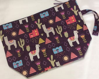 Zippered project bag - Llamas? Alpacas?