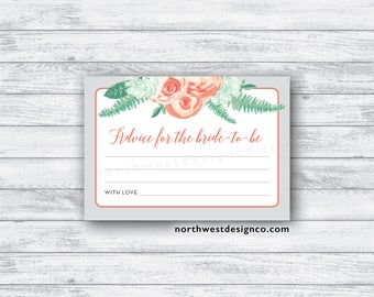 DIGITAL - Peach Mint Advice for the Bride to Be Card Gray Peach Floral Bridal Shower Game Printable Instant Download Wedding Shower Card