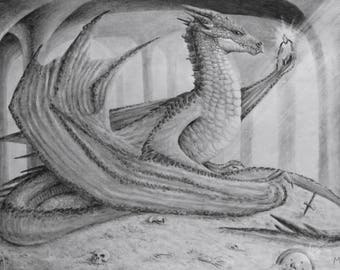 Hobbit Original Pencil Drawing - Smaug the Dragon - Tolkien Hobbit Artwork - Dragon Smaug in Erebor on a Pile of Gold