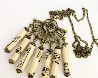 "Vintage music paper beads necklace."" Huguennots 1 """