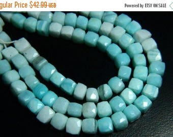 """65% OFF SALE 8.50"""" Full Strand Natural Blue Opal Faceted Cube Beads 8mm to 9mm Cube Shape Blue Opal Gemstone Beads Strand Faceted Briolettes"""