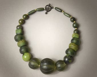 Old Chinese Melon Glass Necklace with Jasper and Hebron
