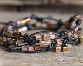 Leather Wrap Bracelet, Beaded Wrap Bracelet, Knotted Leather Bracelet, Knotted Leather Wrap Bracelet, Triple Wrap Bracelet, Leather Necklace