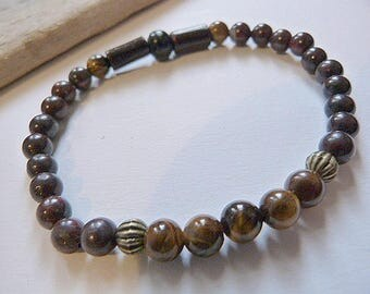 Men's bracelet or mixed Tiger eye, zen, ethnic spirit and poppy Jasper.