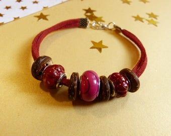 Women hippie ethnic style, red bracelet
