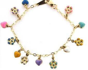 18K Yellow Gold Multi Color Enamel Heart and Flower Bracelet 6 in