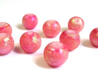 10 pearls pink foiled glass 10mm (O-18)
