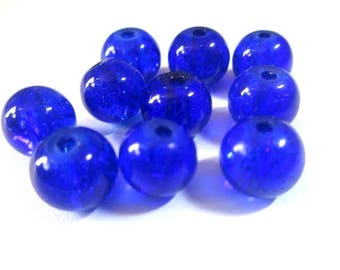 10 Crackle Glass 8mm dark blue beads