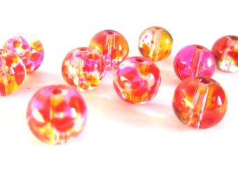 20 pink and yellow beads drawbench translucent glass 6mm