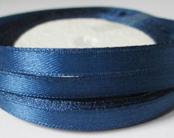 23 m 6mm dark blue satin ribbon in reel