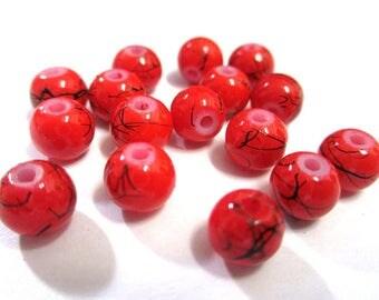 20 Red, black beads 6mm