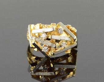 18k 0.20 CTW Diamond Geometric Brutalist Nugget Ring Gold