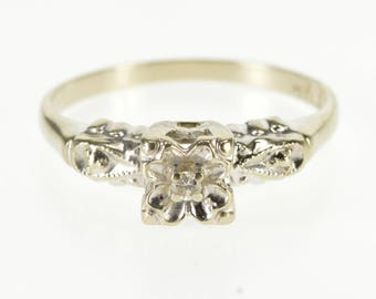 14K Retro Squared Diamond Accent Stone Engagement Ring Size 6.25 White Gold