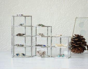 Set of Three Geometric Glass Display Cases, glass display box, jewelry display case, stained glass box, geometric glass box