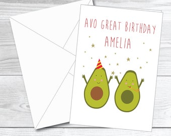 Personalised card Birthday day card funny Birthday day card pun card funny card avocado card avo birthday