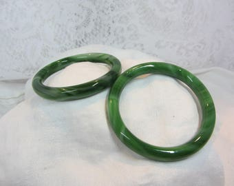 Set of Two Jade Colored Glass Bangles