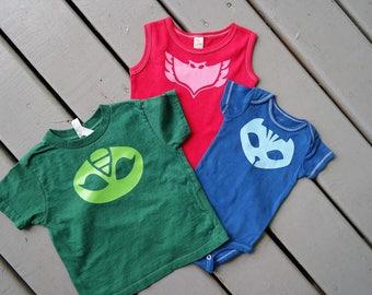 Custom PJ Mask shirts; Girls PJ mask Catboy bodysuit; PJ mask costume; pj mask birthday outfit; pj mask t-shirt for toddler