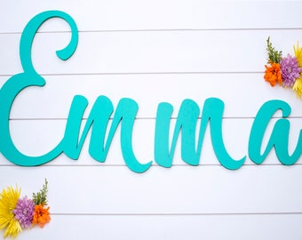 Baby Name Nursery Sign - Cursive Name Sign for Nursery Wall Decor - Baby Nursery Custom Wood Sign - Wooden Name Sign - Amarillo Script Font