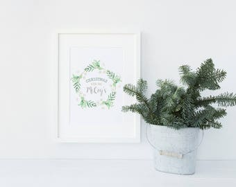 Personalised ,Christmas with the' Watercolour wreath Keepsake Decorative print
