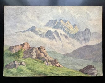 Beautiful french ANTIQUE WATERCOLOR Signed 19th Ramel french Artist - Very Romantic Landscape of Mountains in Clouds - Watercolor art