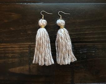 Taupe Tassel Earrings