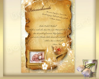 Template for patent certificate-Patent letter-for godmother-Din A4-Certificate-photoshop template-baptism gift for godparents
