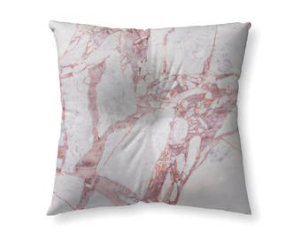 White and Pink Marble - floor pillow