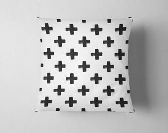 Black and white swiss cross throw pillow