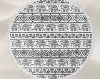 Tribal Elephant  over-sized round beach towel