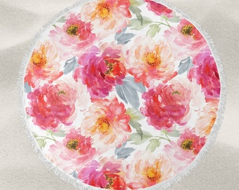 Pink Flowers over-sized round beach towel