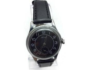 Vintage Soviet USSR mechanical mens watch KAMA 1958 Chistopol watch factory 15 j Black dial ORIGINAL Soviet watch! Gift For him!