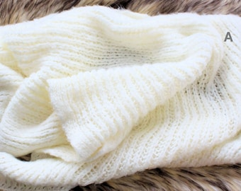 Free Gifts With Purchase of USD40, Cream Wrap, Knitted Wraps,Oval Layering Blankets,Doilies,Ready to Ship, by Zoraya Baby Props