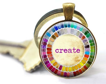 Gift for Artist- Watercolor Palette keyring - Create Quote Palette keychain  Gift for art student - gift for watercolor artist - art teacher