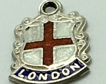 London England Enamel Travel Shield  Sterling Silver Charm  Coat Of Arms Europe Great Britain UK Travel Souvenir