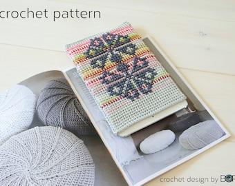 iPad case crochet pattern with cross stitch motif, easy, diy, colorful, cotton, yarn, handmade, pink, green, boho, folk