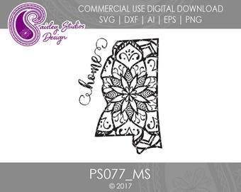 Mississippi Mandala SVG, Mississippi State SVG, Mississippi SVG, Mississippi State Pride, Svg file, Silhouette Files, Cricut Files, PS077