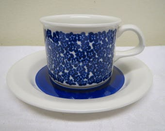 Arabia Finland, blue Faenza -Coffee Cup, Designed by Inkeri Leivo