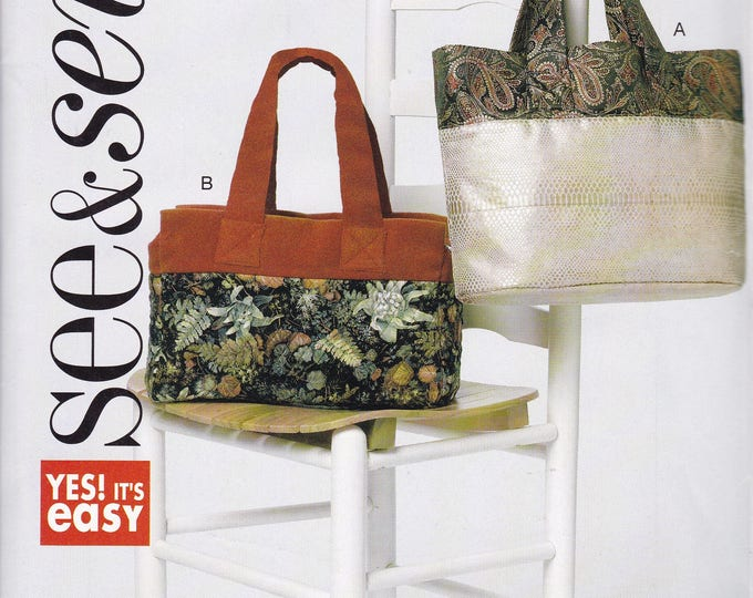 Free Us Ship Sewing Pattern Butterick 6274 Easy See & Sew Out of Print Purse Bag Tote Unused Planner Computer carrier
