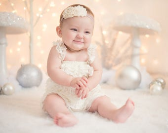 Baby Toddler Girls Lace Romper, Petti Romper, Newborn Romper, Baby Girls Outfit, Girls Birthday Outfit, Cream Lace Romper