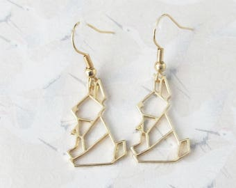 Rabbit gold plated, origami Bunny, rabbit, origami rabbit, gift for her jewelry dangle earrings