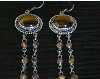 ON SALE Charming TIGER'S Eye Silver Earrings