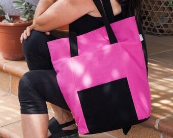 Large tote bag. Summer bag. Pink tote bag. Shoulder bag. Pink bag purse. Pink and black handbag.