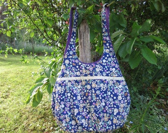 handbag, Tote, tote bag Tote, lined, colorful flowers, blue