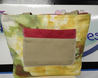 SUMMERY TOTE BAG, yellow, green, rust, tan, handbag, purse, book bag, gift for her, all season bag, one of a kind, pockets galore, firm base