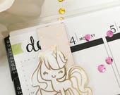 Unicorn Planner Clip/Bookmark - Handmade, Real Foil & Stamped | Planner Accessories