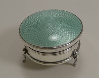 Pretty English Sterling Silver and Guilloche Enamel Jewelry / Ring Box