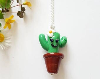 Cactus Necklace - Sterling Silver Necklace-  Cactus - Cacti - Gifts for Her - Lampwork Glass - Succulent - Cactus Bead - UK Made - Jewelry